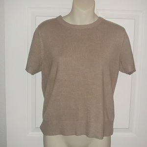 ✨👕[Sag Harbor]soft crew tan sweater short sleeve